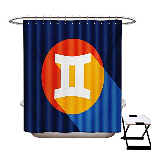 (Zodiac Gemini Shower Curtain Customized Horoscope Sign Colorful Graphic Design in a Circle on Blue Background Bathroom Accessories W72 x L84)
