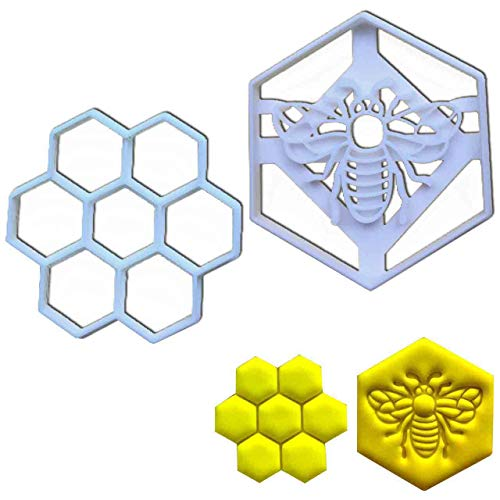 SET of 2 cookie cutters (Realistic Honey Bee and Honeycomb), 2 pcs, Ideal for honey themed party