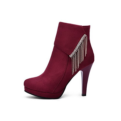 AllhqFashion Damen Anhänger Eingelegt Hoher Absatz Reißverschluss Rund Zehe Stiefel, Rot, 33