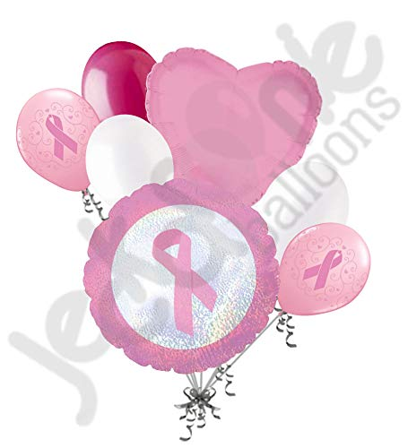 7 pc Breast Cancer Awareness Balloon Bouquet Event Decoration Pink Ribbon Walk -