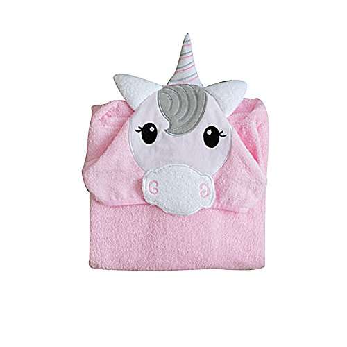 Price comparison product image showall Kid's Cartoon Hooded Cloak Bath Towel Cotton Embroidered Unicorn Kimonos