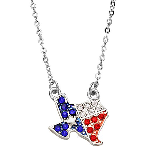 Lone Star Pendant (Liavy's Texas Lone Star Flag Charm Pendant Fashionable Necklace - Sparkling Crystal - 16