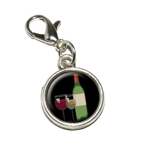 - Graphics and More Wine Vino White Red Zinfandel Merlot Cabernet Sauvignon Antiqued Bracelet Pendant Zipper Pull Charm with Lobster Clasp