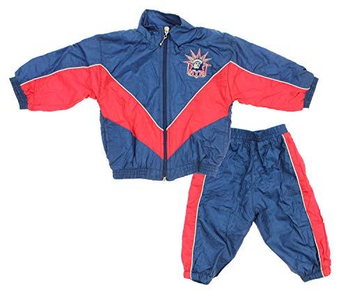 New York Rangers NHL Baby Boys Infant 2 Piece Retro Crinkle Wind Suit, Navy-Red ()