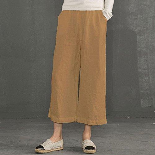 De Trousers Ecupper Taille Large Plus Femme Raccourci Jaune Pantalon Ample Casual Bas O5xSwzx1q