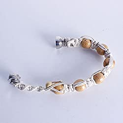 Metal and natural hemp with white beads pipe wrist bracelet design Includes 5 stainless steel screen filters and organza gift storage bag