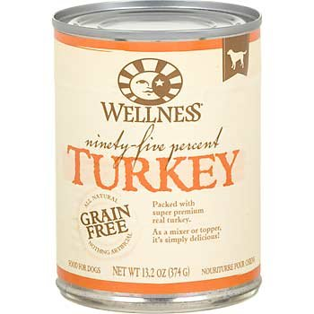 Wellness 95% Adult Canned Dog Food 13.2 oz. Turkey Case of 12 (Turkey 95% Wellness)