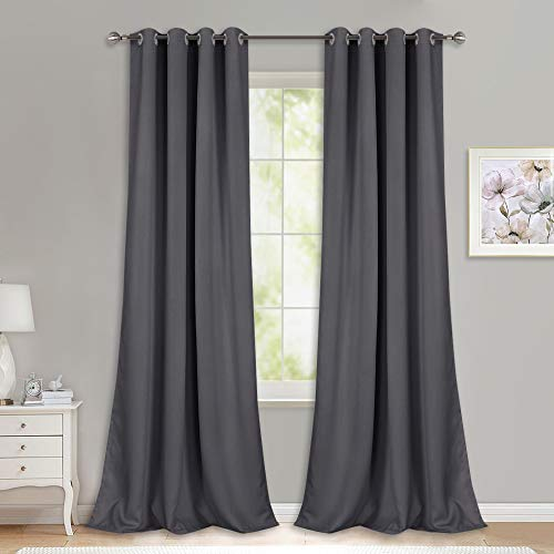 NICETOWN Bedroom Blackout Curtains Panels - (52 inches by 108 Inch, Grey, Set of 2) Triple Weave Energy Saving Thermal Insulated Solid Grommet Blackout Draperies for Patio (Inch 108 Wide Curtains)