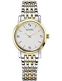Women's 98P115 Diamond Accented Silver-Tone Bracelet Watch