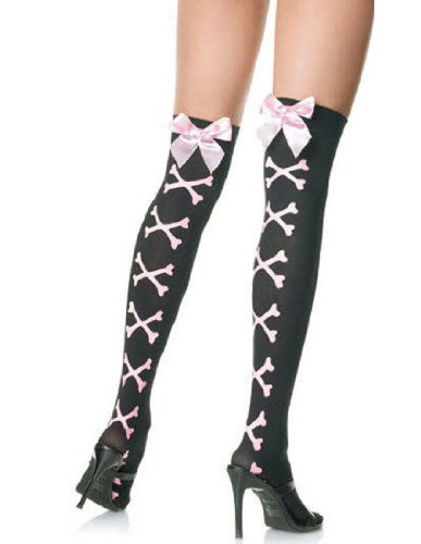 Leg Avenue Women's Stockings with Crossbones Print, Black/Pink, One Size - Costumes For Less Promo