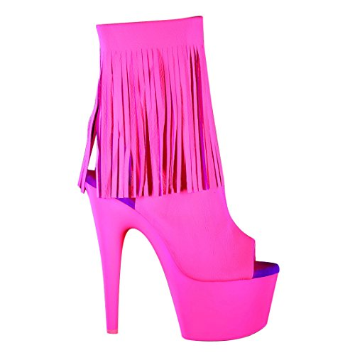 Leather Faux Stivali neon 41 Donna H Neon Pleaser Pink WAZqF0ppS