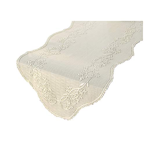(Heritage Lace Sheer Divine Table Runner, 14 by 32-Inch, Ecru)