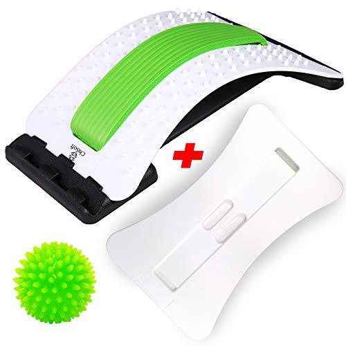 Best Arched Back Stretcher As Seen Doctors TV + 2 Different Boards, CHISOFT (2nd Edition) Lumbar Stretching Device + 2 Foam Cushion + Trigger Point Massage Ball, Posture Corrector, Sciatica Relief