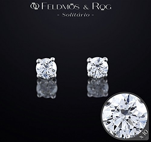 Natural White Round Diamond Solitaire Earrings, 4 Prong Diamond Studs, Solid White Gold 18K Diamond Earrings Butterfly Backs, Christmas Gift (Butterfly Vs2 Ring)