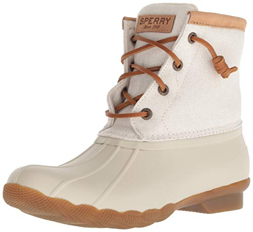 SPERRY Women's Saltwater Metallic Rain Boot, Ivory, 7.5 M US