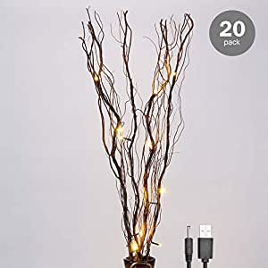 Lightshare 20 Pack Natural Twig Lighted Branch Home Decoration, 36 Inch 16 LED, USB Plug-in Battery Powered,Warm White Light Brown Branch