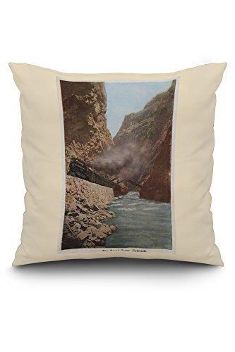 Royal Gorge, Colorado - View of Train Alongside River - Vintage Halftone (20x20 Spun Polyester Pillow, White Border)