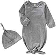OPAWO Newborn Baby Cotton Knotted Gowns with Mitten Cuffs and Matching Hat Solid Color Coming Home Outfit