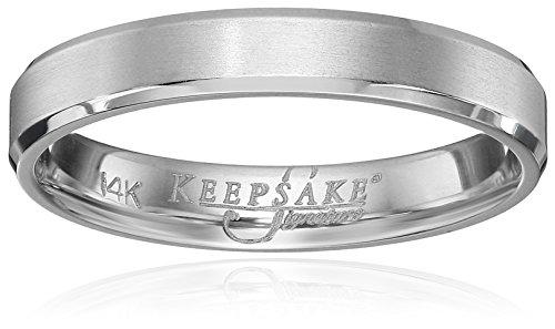 Men's Keepsake Signature 14k White Gold 4mm Wedding Band,...