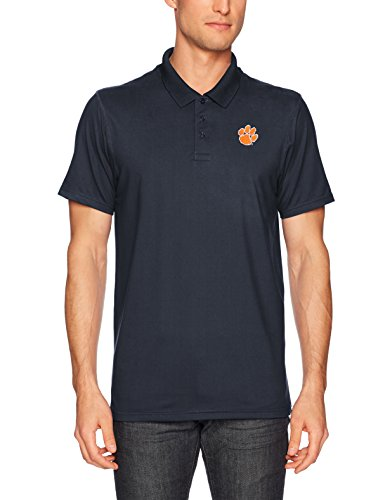 Tigers Ncaa Drapes - NCAA Clemson Tigers Men's Ots Sueded Short sleeve Polo Shirt, Large, Fall Navy