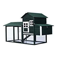 """PawHut 84"""" Large Wood Chicken Coop Hen Pet Cage with Nesting Box and Run Green"""