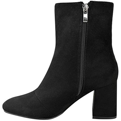 Low Womens Suede Black Fashion Faux by Work Heel Black Up Ladies Zip Boots Thirsty Chelsea Smart Office Heelberry Block Ankle IUH5wHqxr