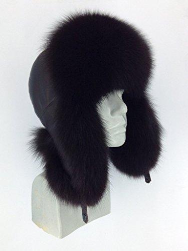 (Blue Fox Fur Ushanka Hat Black Color With Leather Saga Furs Men's)