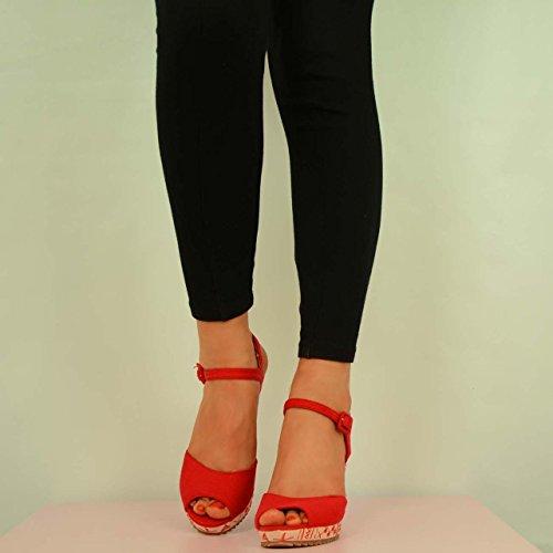 rojo Cucu Fashion Rojo Zapatos mujer tacón de aYqOw7a