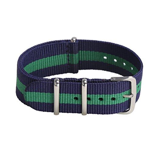 - Premium Canvas Fabric Watch Bands Ballistic Nylon Straps Width,Navy/Shamrock,18mm