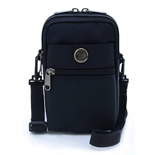 UTIMES Casual Water Resistant Nylon Waist Bag Security Pack Crossbody Phone Pouch for 6 inch Cell Phones(Black)