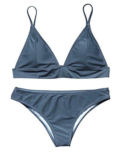(MOSHENGQI Women Flattering Plain Color Two Piece Bralette Bikini Set Swimsuits (S(US 2-4),Gray-1))