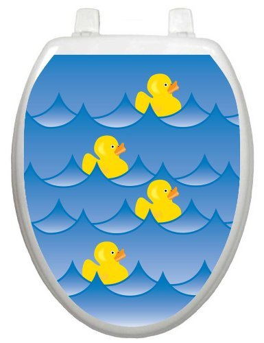 Frog Studio Home Toilet Tattoos TT-4001-R Rubber Ducky Blue Decorative Applique for Toilet Lid, Round