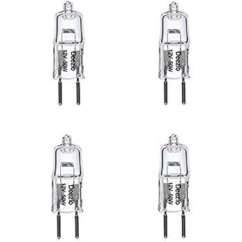Deezio 12 Volt 50 Watts GY6.35 T4 Halogen Light Bulb with Glass 2-Pin, 300/900 Lumens, 3000K Bulb Color Temp, 4-Pack