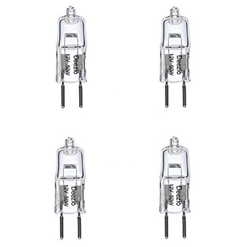 Deezio 12 Volt 50 Watts GY6.35 T4 Halogen Light Bulb with Glass 2-Pin, 300/900 Lumens, 3000K Bulb Color Temp, 4-Pack -