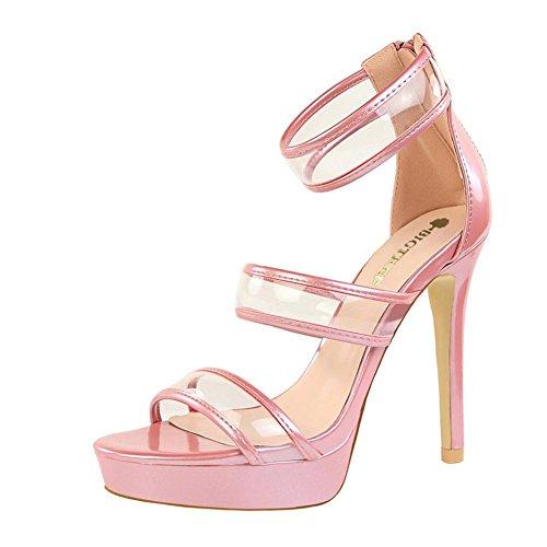 YEEY Las mujeres de verano de tacón de aguja abierta sandalias de tacón alto talón de la correa del tobillo Club de compras Pink