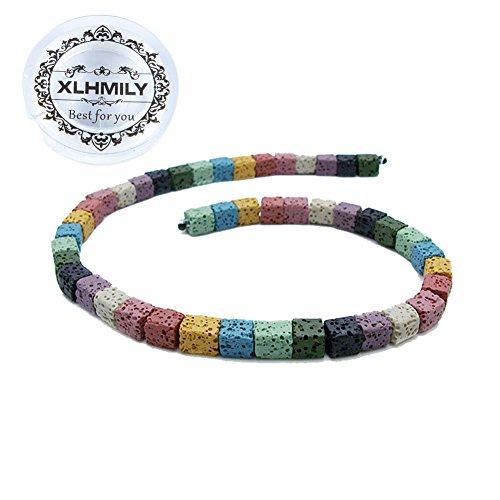 XLHMILY 32PCS 10mm Mixed Color Loose Cube Square Lava Stone for Essential Oils Natural Healing Gemstone Volcanic Rock Beads Strand for Bracelet Necklace DIY Jewelry Making with 1 Roll Elastic String