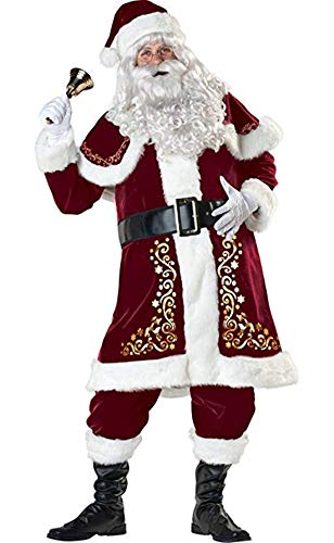 Women Christmas Costume Mrs Santa Clause Costume Jumpsuits Suit Bodysuits Red Man-L