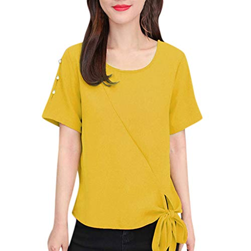 Benficial Women Summer Casual T Shirts Short Sleeve O-Neck Solid Bow Top Blouse 2019 Summer Yellow