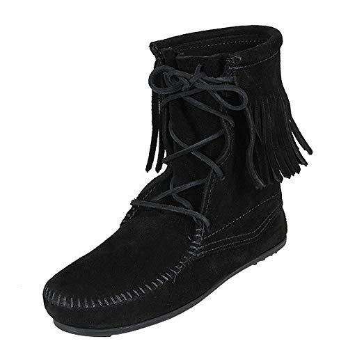 Ankle Hi Tramper Boot - Minnetonka Womens Tramper Ankle Hi Black Boot - 6