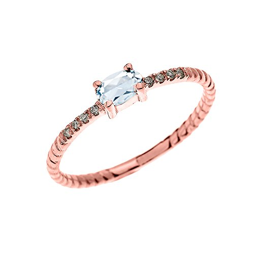(Dainty 10k Rose Gold Diamond and Solitaire Oval Aquamarine Rope Design Stackable/Proposal Ring(Size)