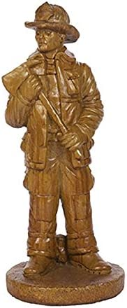 Solid Rock Stoneworks Fireman Decorative Stone Statue 25in Tall Autumn Wheat Color