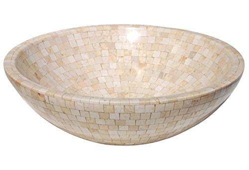 Eden Bath EB_S004MTN-P Mosaic Marble Stone Vessel Sink - Tan