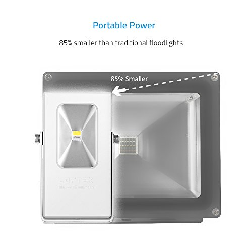 LOFTEK LED Work Light 15Watt LED Cordless Flood Light Outdoor Work Light, Equal to 60-Watt Incandescent, Waterproof USB Power Bank with 6600mAh Rechargeable Battery, Silver
