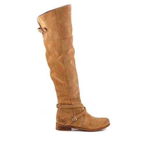 Felmini - Zapatos para Mujer - Enamorarse com Bertha 9925 - Botas Altas con cremallera - Cuero Genuino - Marrone Marrone