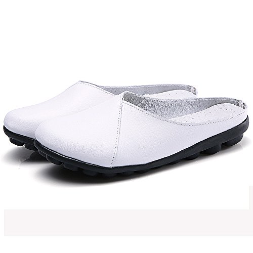 Labato Women's Mules Slip-on Shoes Leather Clogs Flats Wallking Slipper White