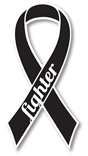 Black Melanoma Cancer Fighter Ribbon Car Magnet Decal Heavy Duty Waterproof