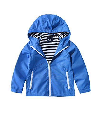 - M2C Boys & Girls Hooded Windproof Jacket Light Windbreaker 3T Blue