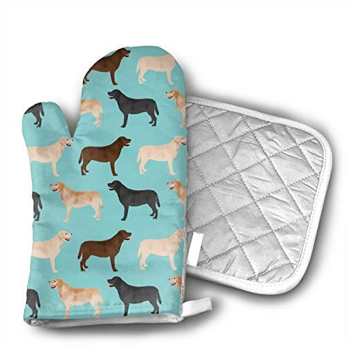 Mnsuh9 Cute Labradors Yellow Chocolate Black Lab Pet Dogs Oven Mitts Printing Cotton Lining, Kitchen Oven Gloves Pot Holder for Cooking, Barbecue Cooking Baking, Barbecue ()