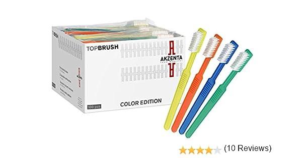 100 TOP CEPILLO Malta conjeturado cepillado con Pasta de dientes 4 Colores mezclado Artículo de marca Akzenta: Amazon.es: Salud y cuidado personal