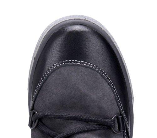 Schnürung Flach Stiefeletten Damen Boots Flache Schwarz Stiefel Schuhtempel24 Schuhe 4wYqSZ0